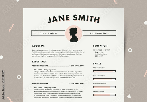 resume layout kit with profile image placeholder element
