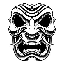 Samurai Warrior Mask (B&W Vers...
