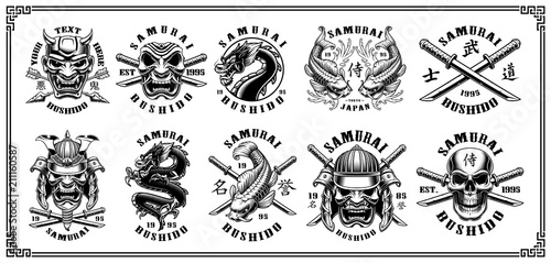 Vászonkép Set of samurai emblems (for white background)