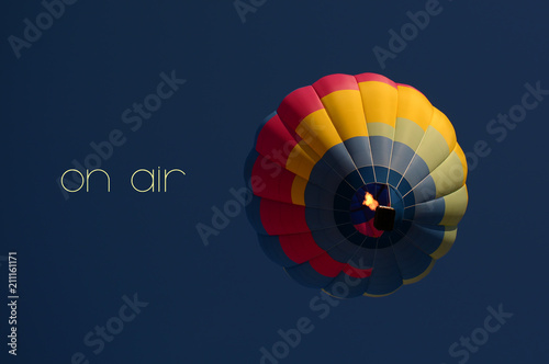 On air concept. Hot air balloon colorful in sky