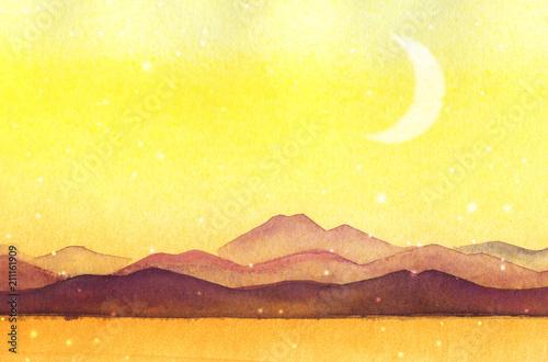 Fotobehang Zwavel geel Watercolor painted mountain silhouettes