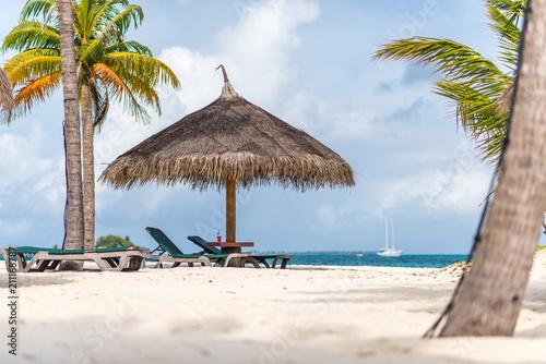 Cadres-photo bureau Tropical plage Strohschirm und Strandliegen und Getränk auf Tisch mit Palmen und Meer im Hintergrund
