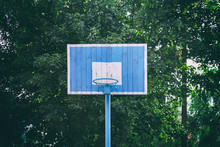 Old Blue Basketball Ring On Th...