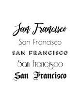 San Francisco City Text Isolated On White For Calligraphy Lettering Vector Print Template