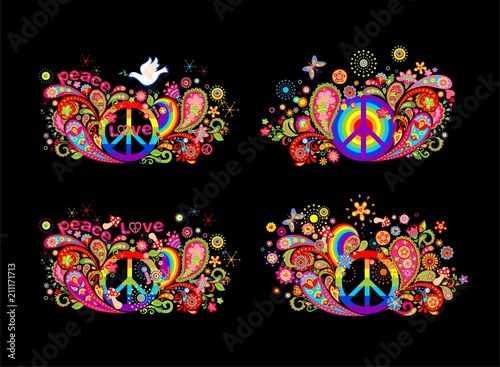 Colorful t shirt prints collection with hippie peace symbol, flying dove with ol Fototapet