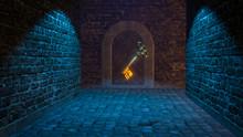 Magic Medieval Key 3d Illustration