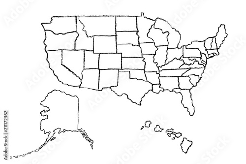 Hand drawn map of United States of America (USA) with states, Alaska ...
