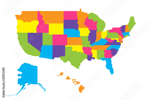 Map of United States of America (USA) with states, Alaska ...