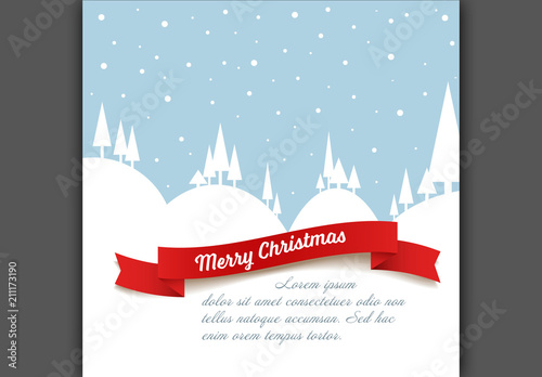 christmas card layout with snowy landscape illustration - Christmas Card Layout