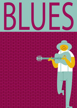 BLUES MAN POSTER. A Serie Of Music Festivals Posters. Funny And Cool Drawings.