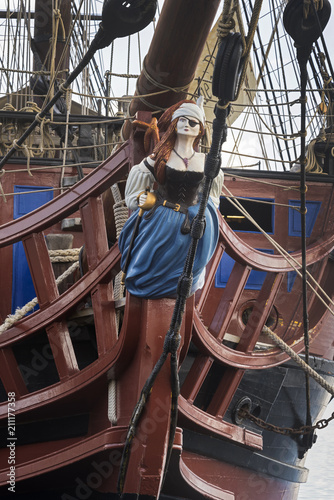 Very old carved figurehead from the 18th century, artist unknown Canvas