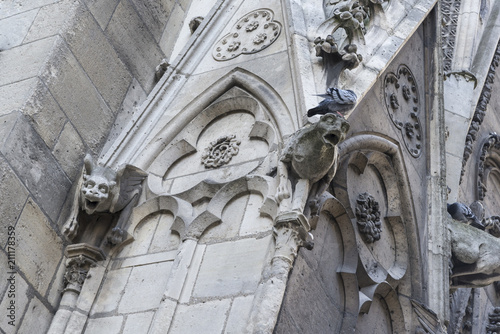 Gargoyles on the exterior of the Notre Dame Cathedral, Paris, France Wallpaper Mural