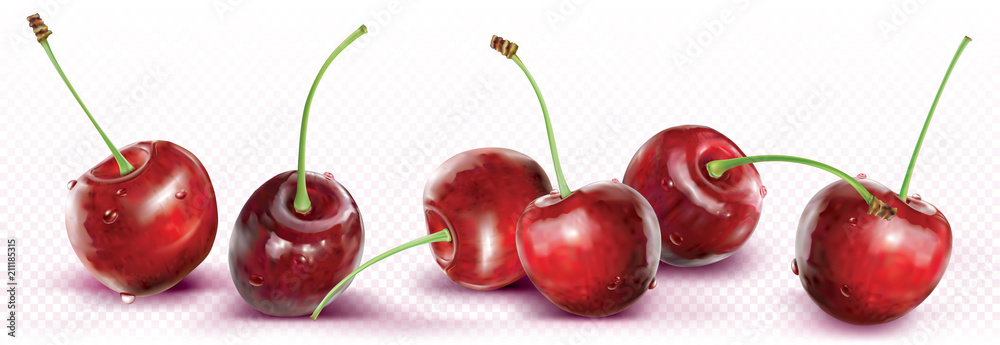 Fototapeta Cherries are placed in a line