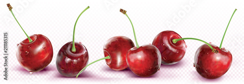 Foto Cherries are placed in a line