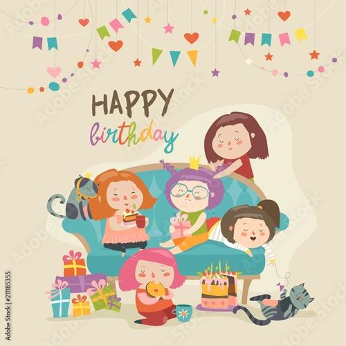 Grupa słodkie dziewczyny obchodzi urodziny
