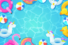 Swimming Pool Frame. Colorful Floats In Water, Vector Cartoon Illustration. Kids Toys Flamingo, Duck, Donut, Unicorn.