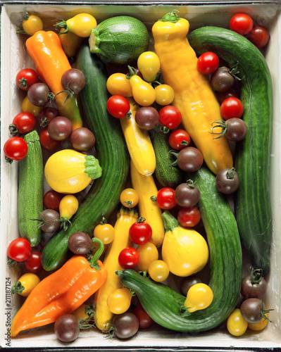 Photo Fresh, tasty and colorful Vegetables from the market, decorated in a vintage bak