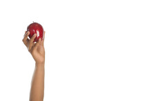 Woman Holding An Apple Up