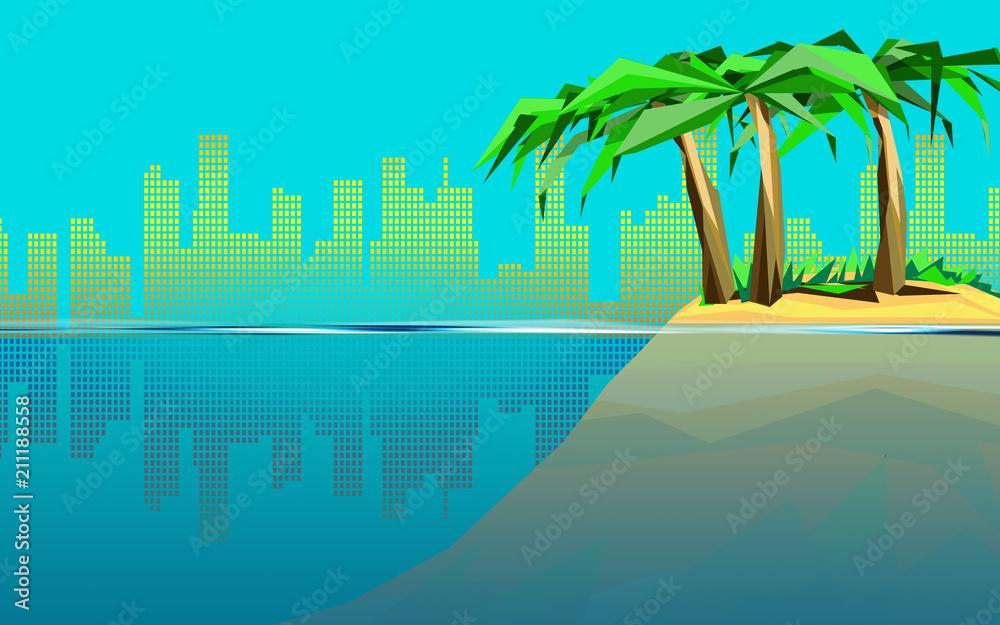 Fototapeta Samotna wyspa w miejskiej dżungli - grafika tła
