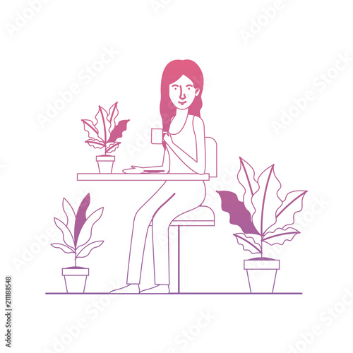 Carta da parati woman in the table drinking coffee with house plants vector illustration design