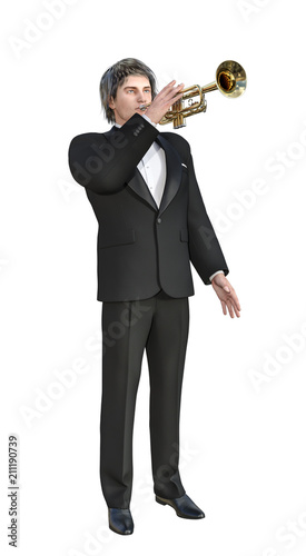 3D illustration of Jazz Trumpet Player in Tuxedo on White Chroma Key Background Wallpaper Mural