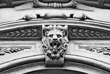 Lion's Head Stone Sculpture On Building Entrance Door