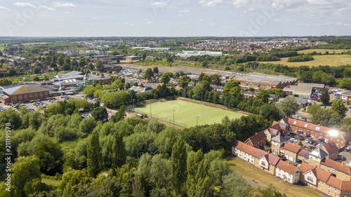 Aerial view of footbal pitch in Colchester, Essex Canvas Print