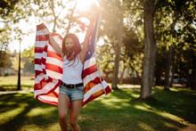 Girl Celebrating Independence Day At Park