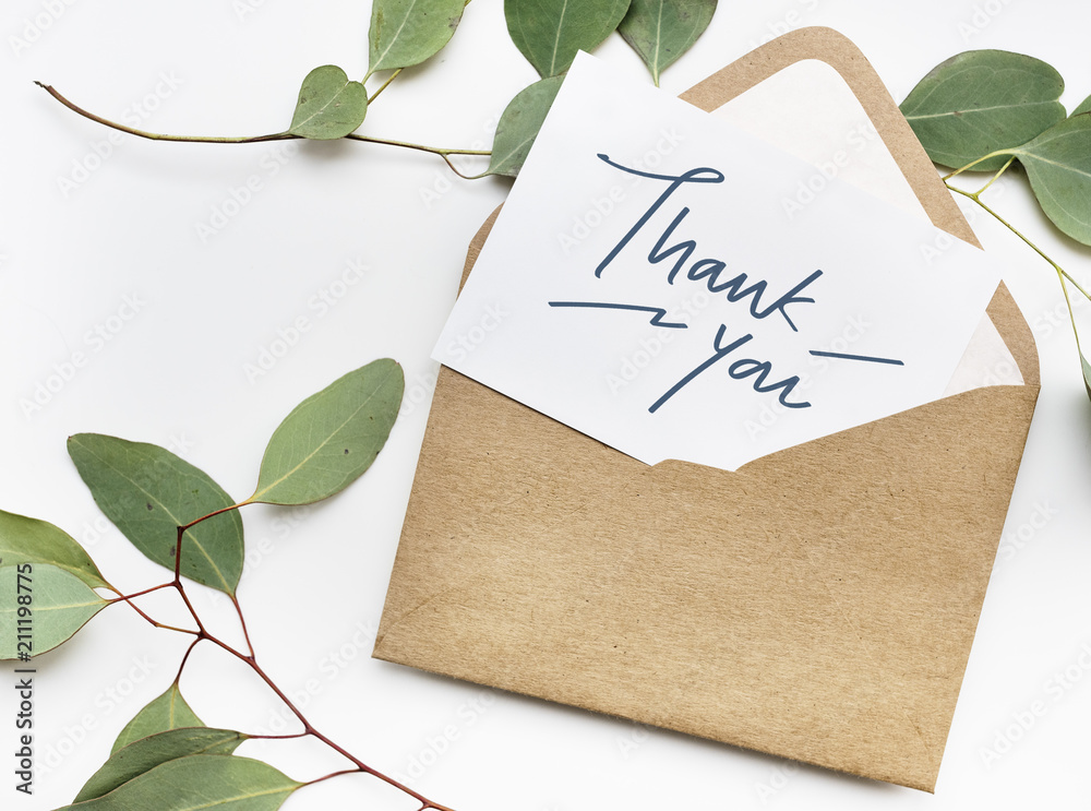 Fototapety, obrazy: Thank You card in an envelope