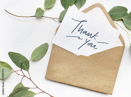 Fototapeta Thank You card in an envelope obraz