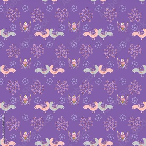 Fotografija  Purple Boho Folk Art Daisies & Love Birds, Seamless Vector Pattern, Hand Drawn I