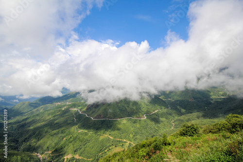 Fotobehang Wit Landscape View from the Tram Ton Pass, Sapa District, Lao Cai Province, Northwest Vietnam