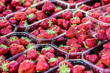 Leinwanddruck Bild - Close-up view of strawberries at a French market