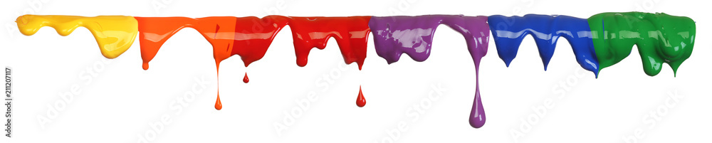 Fototapeta Colorful paint dripping isolated on white