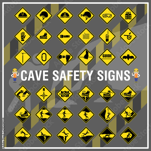 Set Of Safety Signs And Symbols Of Cave Cave Safety Signs Use To