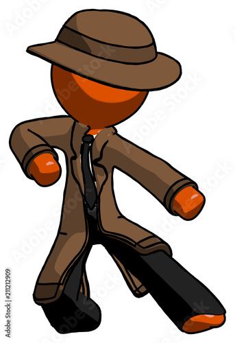 Fotografie, Obraz  Orange Detective man karate defense pose right