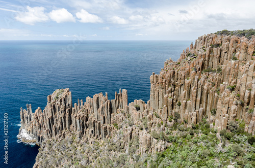 Photo  Elevated view of Cape Raoul with its impressive formation of dolerite columns