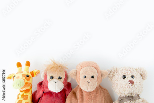 The doll gang so cute  on white background, Portrait lovely animals with smiley face