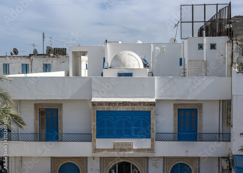 Balconies on the facades of houses in Sousse/Tunisia, Sousse, the