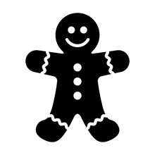 Gingerbread Man Holiday Biscuit Or Cookie Flat Vector Icon For Food Apps And Websites