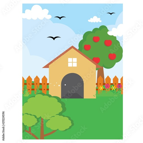 In de dag Boerderij barn backyard house nature scenery landscape background