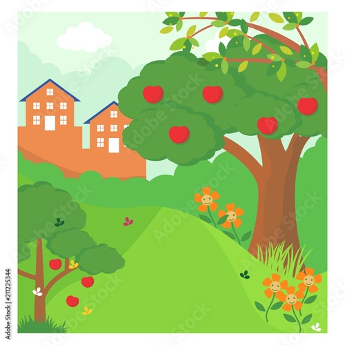 In de dag Lime groen apple tree forest jungle panorama scenery landscape background