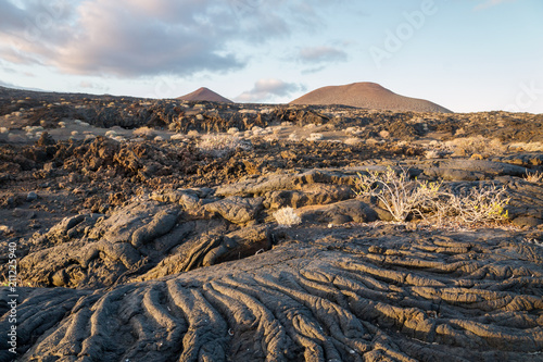 Spoed Foto op Canvas Grijze traf. Sunset at lava formation landscape, La Restinga, El Hierro, Canary Islands, Spain