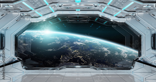 Photo sur Toile UFO White clean spaceship interior with view on planet Earth 3D rendering
