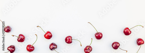 Fresh ripe cherry pattern background
