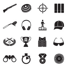 Clay Pigeon Shooting Icons. Bl...