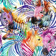 Zebra Seamless Pattern. Tropic...