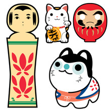 Japanese Doll Icons Vector. Charm Cat, Lucky Doll, Toy Japanese Dog. Wooden Doll.