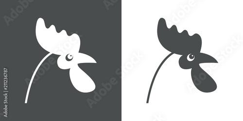 Fotografie, Tablou Icono plano cabeza de pollo en gris y blanco