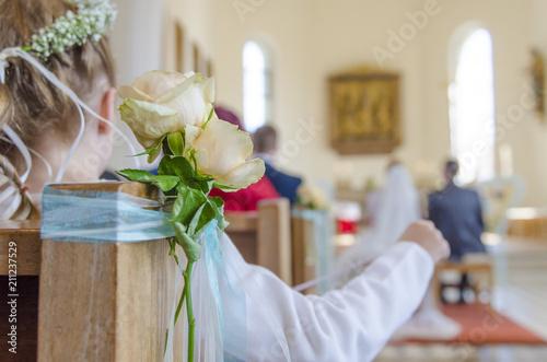 Blumenmadchen In Kirche Hochzeit Trauung Buy This Stock Photo